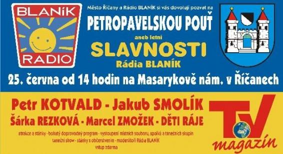 Letní slavnosti Rádia Blaník Říčany- pozvánka